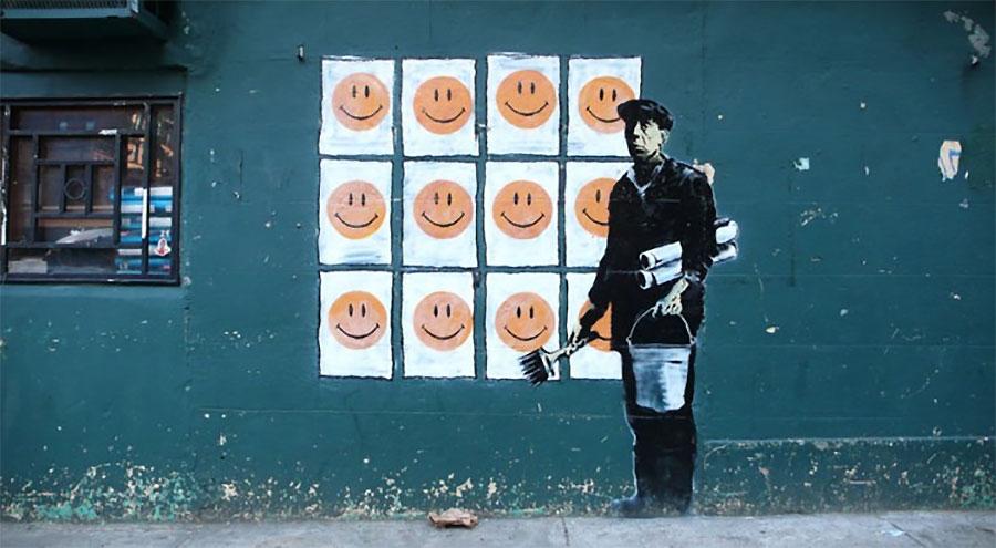 smile banksy street art