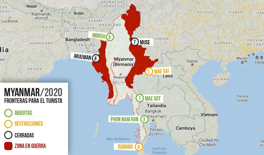 zonas de riesgo en myanmar fronteras